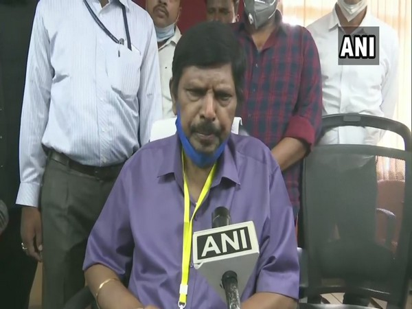 Union Minister Ramdas Athawale speaking on the Hathras Case in Lucknow today. (Photo/ANI)
