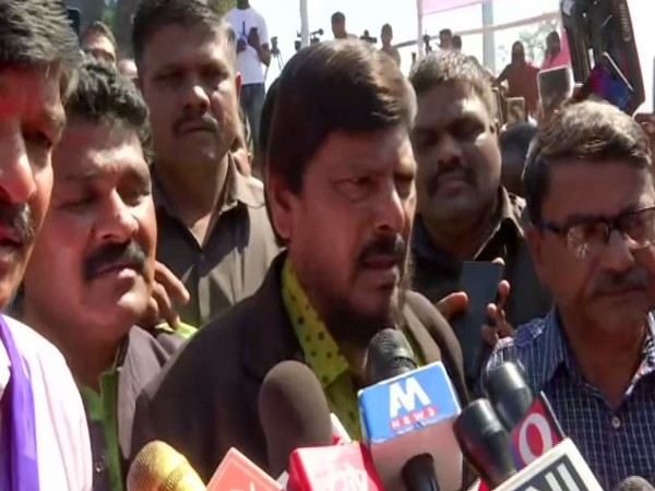 Union Minister Ramdas Athawale speaking to reporters in Pune on Wednesday. Photo/ANI
