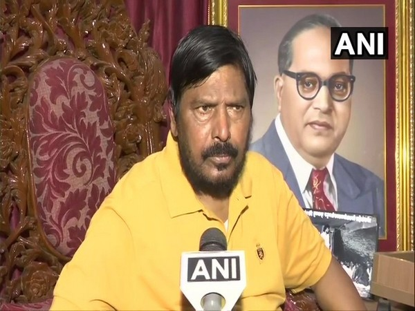 Union Minister Ramdas Athawale speaking to ANI in Mumbai on Thursday. Photo/ANI