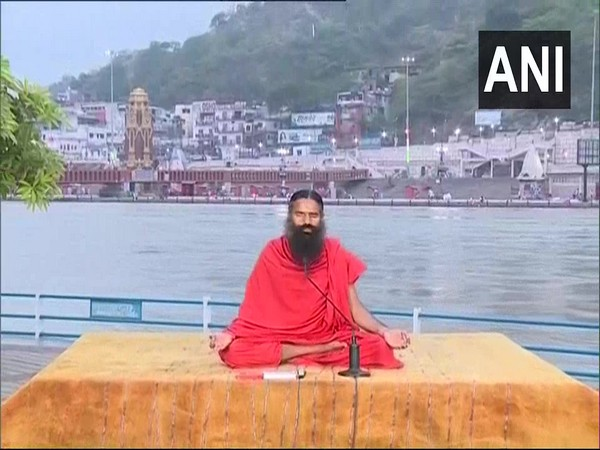 Baba Ramdev conducted 'Yoga Protocol Rehearsal' in Haridwar, Uttarakhand here on Friday. (Photo/ANI)