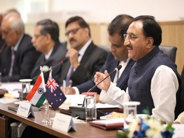 HRD minister Ramesh Pokhriyal co-chairs the 5th Australia-India Education Council meeting in New Delhi on Friday