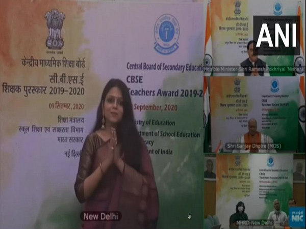 Education Minister confers 'CBSE Teachers Award' to 38 Teachers and Principals of CBSE affiliated schools in New Delhi on Wednesday. Photo/ANI
