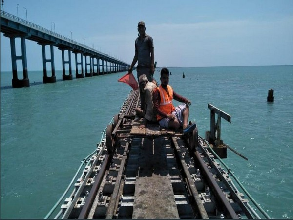 Man rescued at Pamban bridge after he fell off from a train (Photo/ANI)