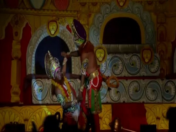 Vishnu Avatar Ramleela Committee organised Ramleela in North East Shastri Park. Photo/ANI