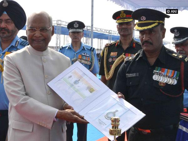 President Ram Nath Kovind at the Air Force Station, Sulur, Tamil Nadu, on Monday. Photo/ANI