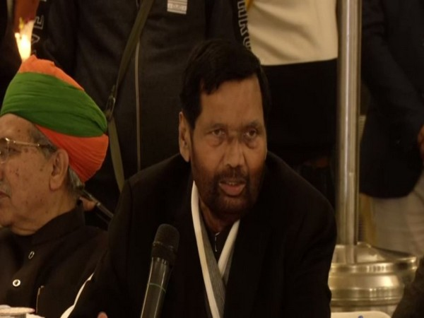 Union Minister Ram Vilas Paswan speaking at a meeting of all SC/ST MPs at his residence in New Delhi on Monday. Photo/ANI