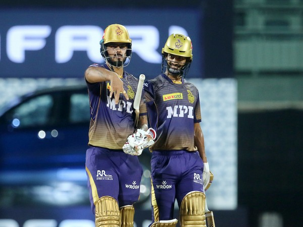 KKR batsman Nitish Rana celebrating after scoring fifty against SRH (Photo/ IPL Twitter)