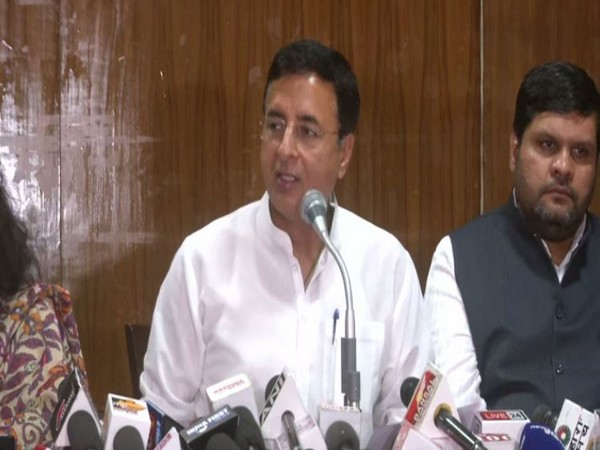 Congress spokesperson Randeep Surjewala speaking at a press conference in Bhopal on Sunday (Photo/ANI)