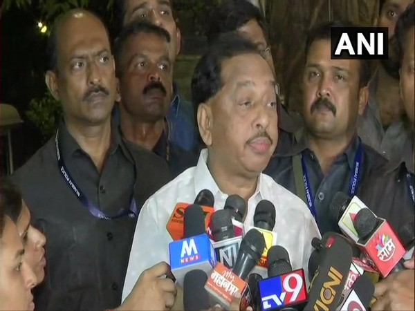 Former Chief Minister of Maharashtra Narayan Rane talking to reporters in Mumbai on Tuesday. Photo/ANI