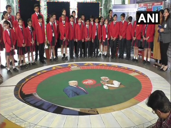Artists make 3D rangoli in GD Goenka International School in Surat on Saturday. Photo/ANI