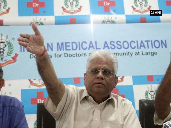 IMA president Dr Ranjan Sharma talking to media persons on Sunday in New Delhi. Photo/ANI
