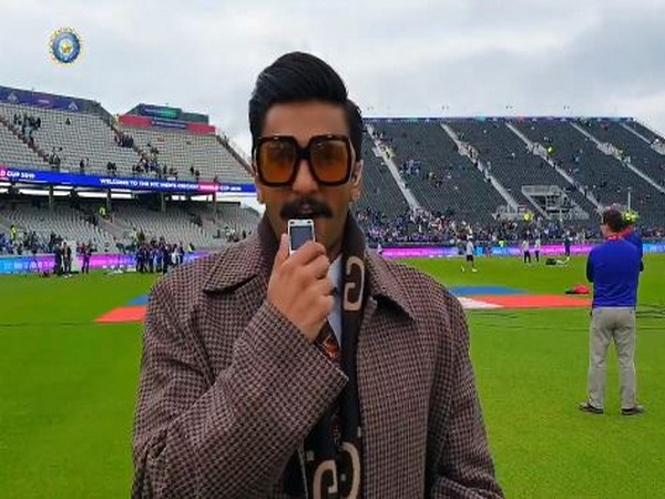 Ranveer Singh making commentary from Old Trafford on Sunday.