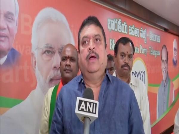 BJP leader and MLC N Ramchander Rao talking to ANI on Wednesday. Photo/ANI