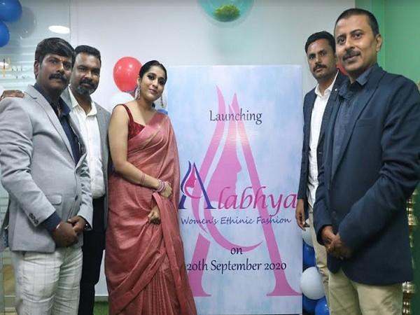 Telugu film star Rashmi Goutham with the directors of Ratirup Retails Pvt Ltd at the 'Alabhya' launch for Women's Ethnic Fashion Wear