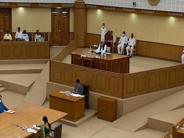 Ratan Chakraborty taking charge as Tripura Assembly Speaker (Photo/ANI)