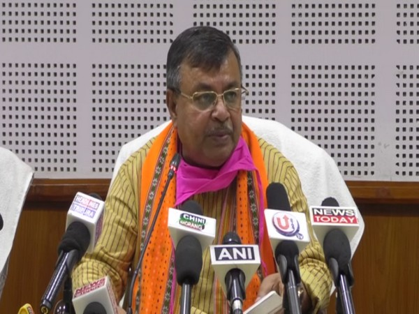 Ratan Lal Nath addressing a press conference in Agartala on Wednesday.