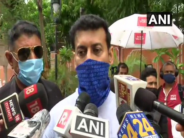 BJP leader Rajyavardhan Singh Rathore talking to reporters on Saturday. [Photo/ANI]