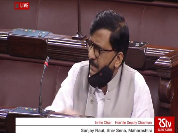 Shiv Sena MP Sanjay Raut speaking in the Rajya Sabha on Thursday.