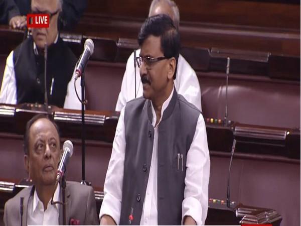Shiv Sena leader Sanjay Raut speaking in the Rajya Sabha on Monday.