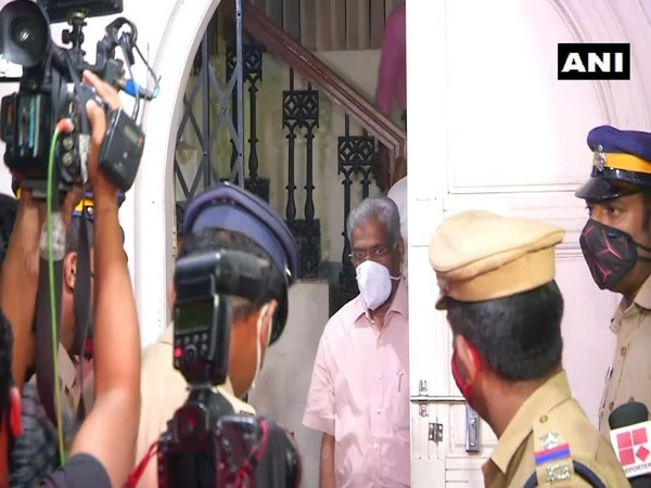 CM Raveendran leaving the Enforcement Directorate office on late Thursday night after being interrogated for around 13 hours.