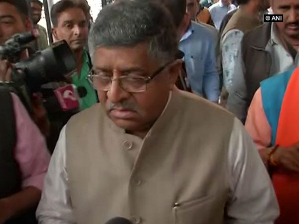 Union Minister Ravi Shankar Prasad talking to reporters after meeting EC offcials in New Delhi on wednesday. (Photo/ANI)