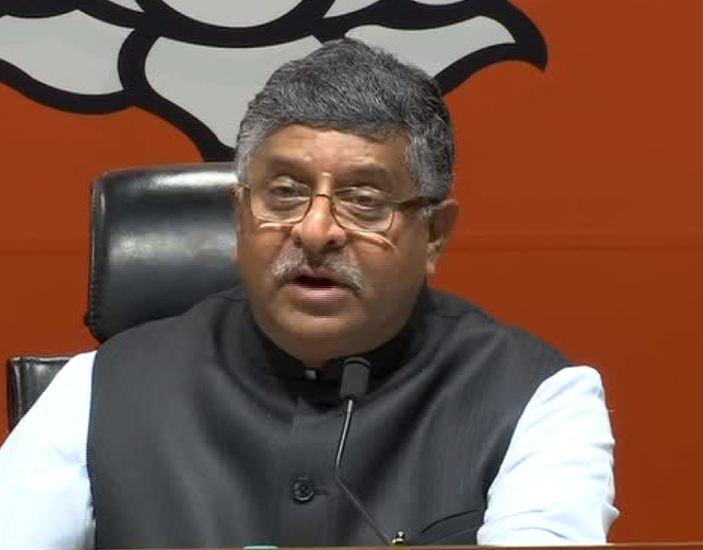 Union Minister Ravi Shankar Prasad addressing the media in Delhi on Saturday. Photo/ANI