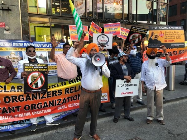 Only a handful of people participated in anti-India protest at the Times Square. Photo/ANI