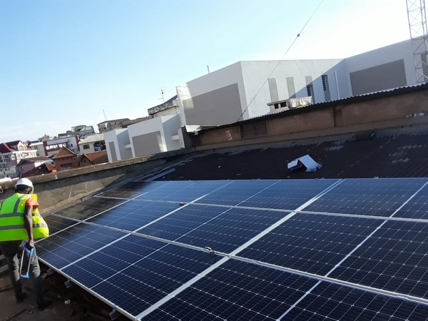 Ongoing installation work of solar panels at Indian Embassy in Madagascar