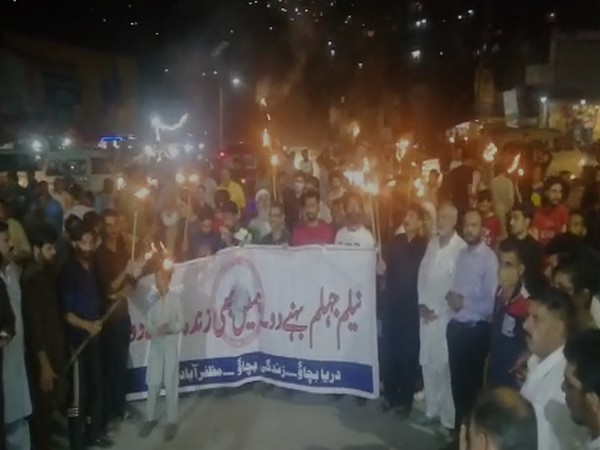 A protest was held in PoK's Muzaffarabad city on Monday night against the mega dams proposed to be constructed by Chinese companies on Neelum-Jhelum River. Photo/ANI