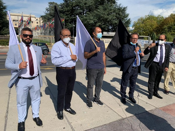 Pashtun Tahafuz Movement protesting a protest in front of UNHRC headquarters in Geneva to condemn gross human rights violations in Pakistan. Photo/ANI