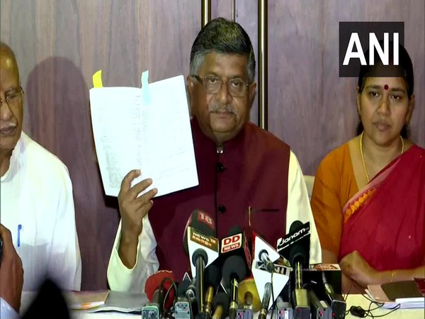 Union Minister Ravi Shankar Prasad speaking at a press conference in Thiruvananthapuram on Tuesday. Photo/ANI