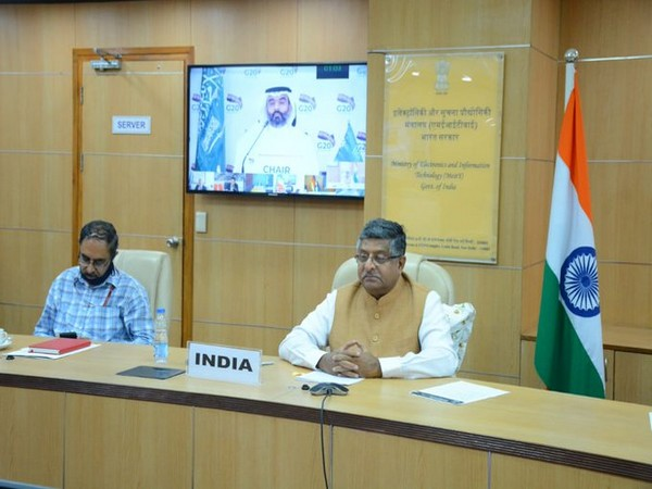Union Minister Ravi Shankar Prasad participated in G20 Digital Economy Ministerial virtual meeting on Thursday (Picture courtesy - Twitter)