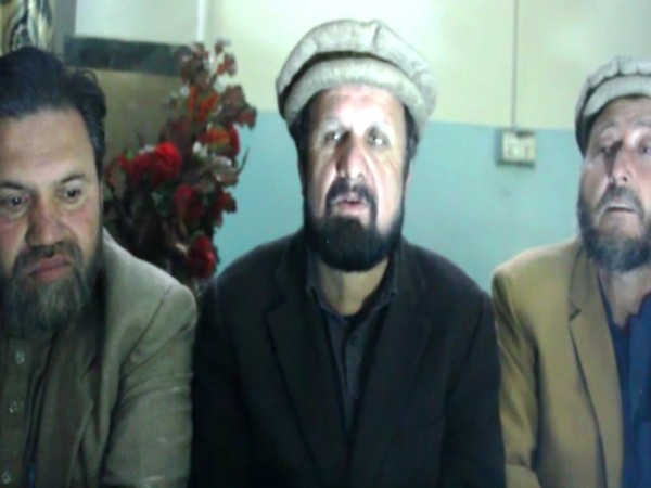 Members of PoK's Awami Action Committee addressing a press conference in Gilgit.