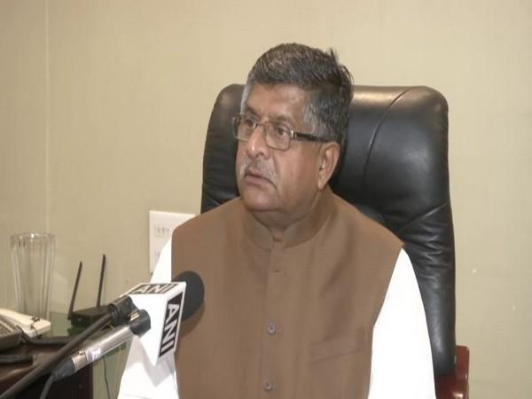 Union Minister Ravi Shankar Prasad talking to ANI on Monday. Photo/ANI