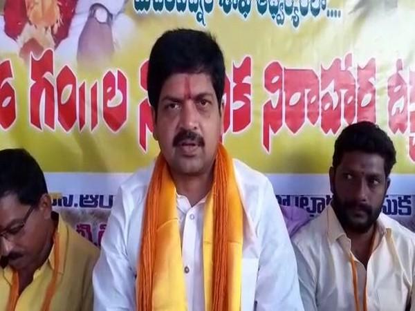 TDP leader Kollu Ravindra speaking to reporters in Andhra Pradesh on Saturday. Photo/ANI