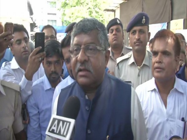 Union Minister Ravi Shankar Prasad speaking to ANI in Patna on Sunday. Photo/ANI