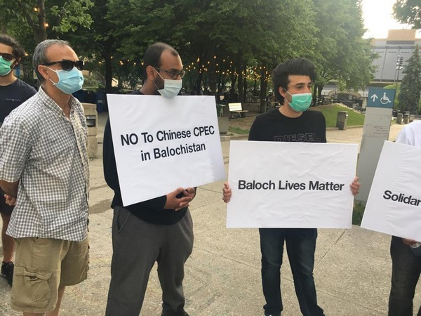Baloch political and human rights activists protesting against the human rights violation being committed by Pakistan and China. Photo/ANI
