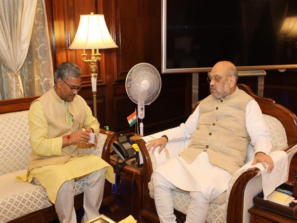 Uttarakhand Chief Minister of Trivendra Singh Rawat meets Union Home Minister Amit Shah in New Delhi on Monday. Photo/ANI