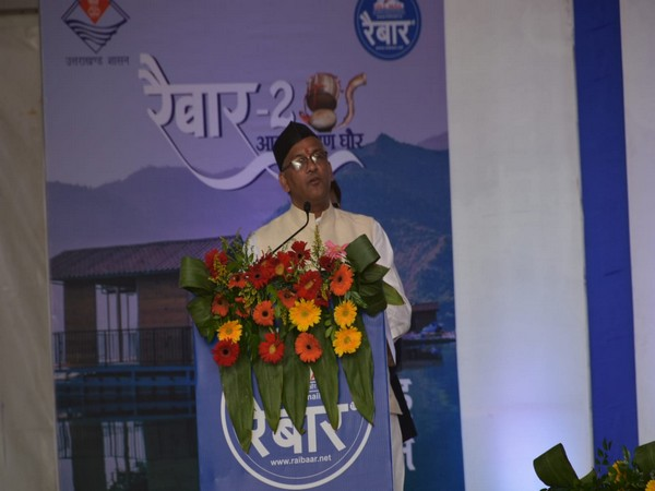 Uttarakhand Chief Minister Trivendra Singh Rawat at the second edition of Raibar event in Tehri on Sunday. Photo/ANI