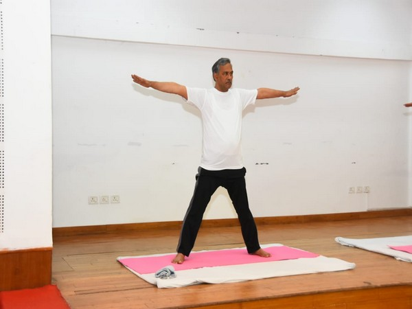 Uttarakhand Chief Minister Trivendra Singh Rawat performed yoga on International Yoga Day on Sunday.
