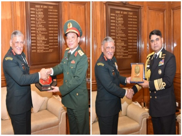 Army Chief Bipin Rawat meeting top defence personnel from Vietnam and Bangladesh in New Delhi on Monday.
