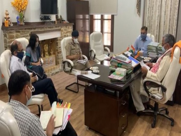 Uttarakhand Chief Minister Trivendra Singh Rawat chair meet with high level official on COVID-19 in Uttarakhand on Wednesday. Photo/ANI