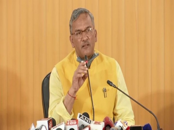 Chief Minister Trivendra Singh Rawat speaking to reporters in Dehradun on Thursday. (Photo/ANI)