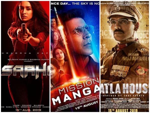 Poster of 'Saaho', 'Mission Mangal', and 'Batla House', Image Courtesy: Instagram