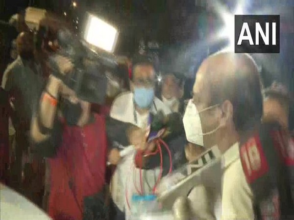 Rhea's father Indrajit Chakraborty leaves Santacruz branch of Axis Bank on Thursday. Photo/ANI