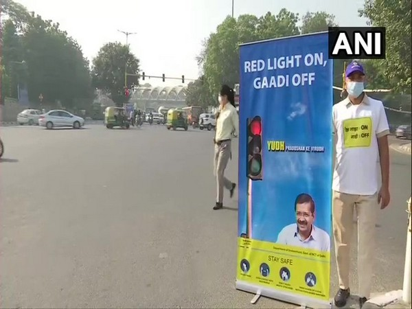 Visual from a traffic signal in Delhi on Wednesday. (Photo/ANI)