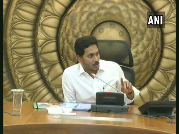Andhra Pradesh Chief Minister Jagan Mohan Reddy in a cabinet meeting on Thursday. Photo/ANI