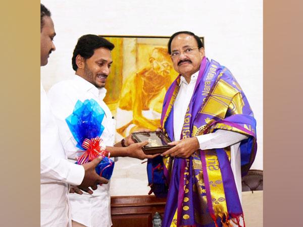 Andhra Pradesh Chief Minister YS Jagan Mohan Reddy meets Vice President M Venkaiah Naidu (Source Twitter)