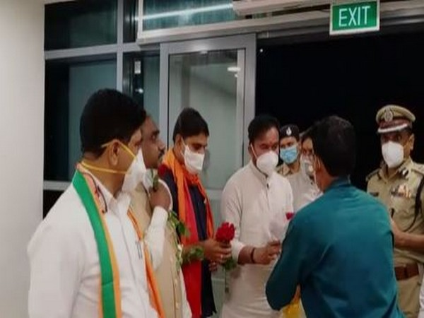 Union Minister G Kishan Reddy at Vijayawada International Airport, Gannavaram on Saturday. Photo/ANI