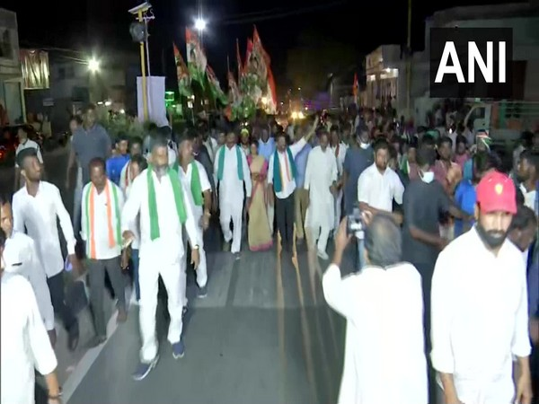 A visual of Revanth Reddy's padyatra in Hyderabad. (Photo/ANI)